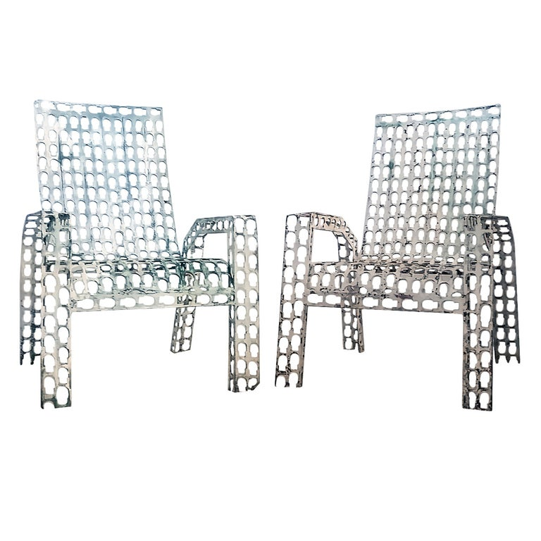 Folk Art Pressed and Welded Steel Lounge Chairs For Sale