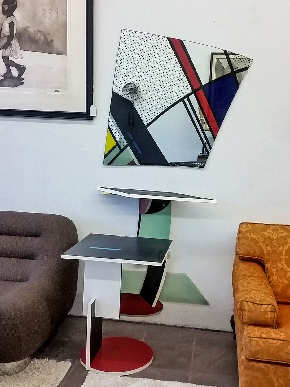 Rietveld Schroeder House Style Hall Table And Mirror Attr. Memphis Group 3
