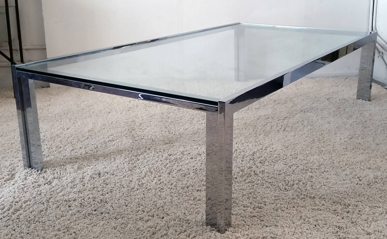 monumental midcentury chrome and glass coffee table attributed to  - monumental midcentury chrome and glass coffee table attributed to milobaughman