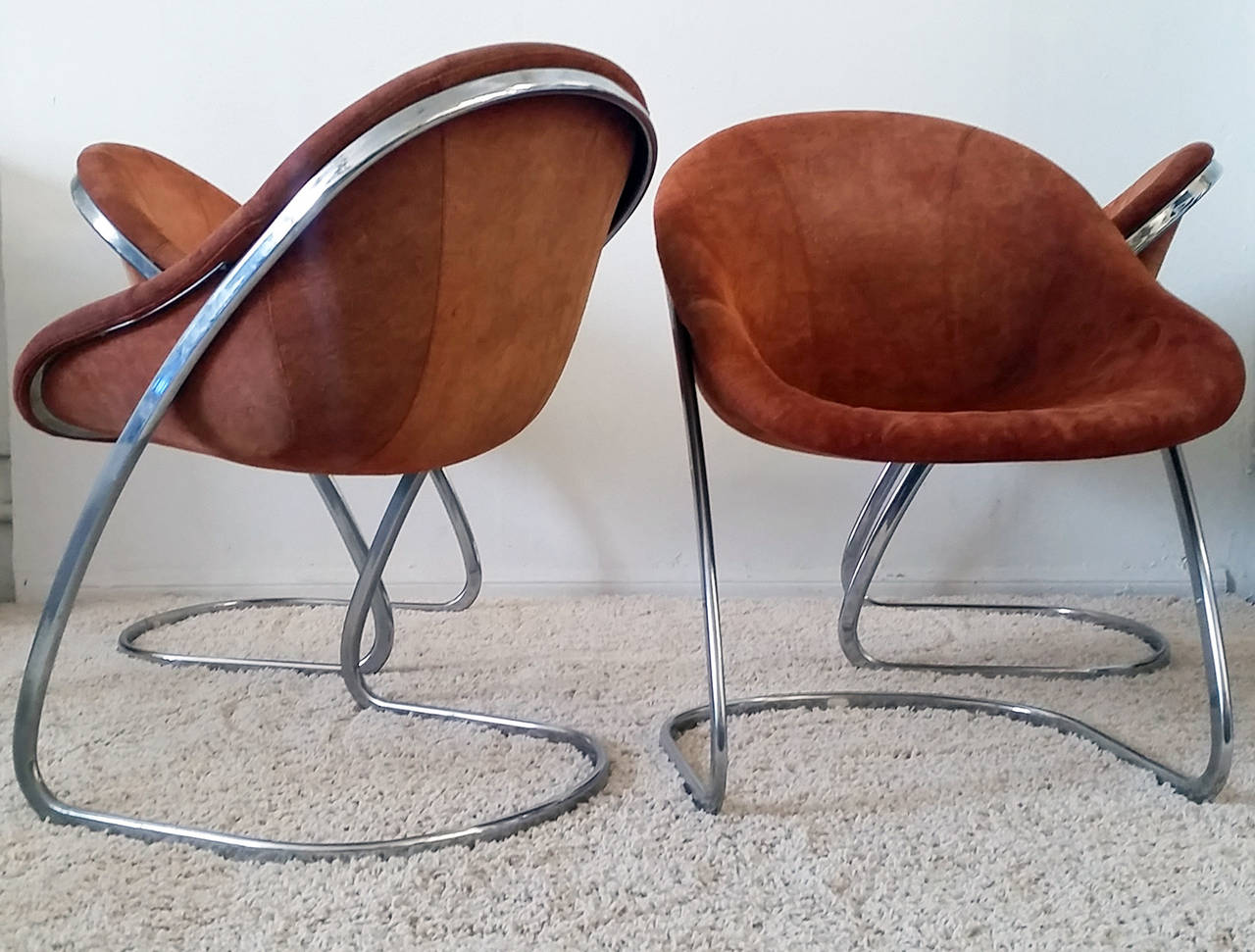 set of four italian chrome dining chairs in suede by thema