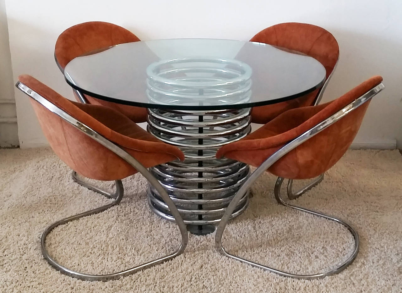 Italian Modern Chrome And Glass Coil Dining Table At 1stdibs