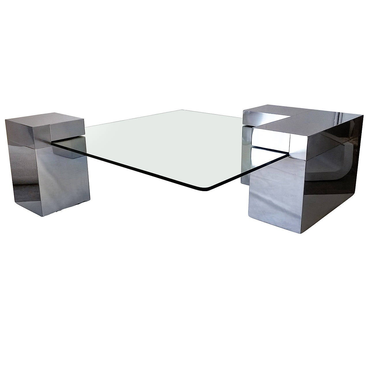 Chrome And Glass Coffee Table In The Style Of Paul Evans At 1stdibs