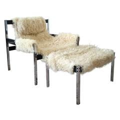Jerry Johnson Mongolian Sheepskin Sling Lounge Chair and Ottoman