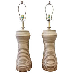 Pair of Bob Kinzie Hand Thrown Art Pottery Lamps