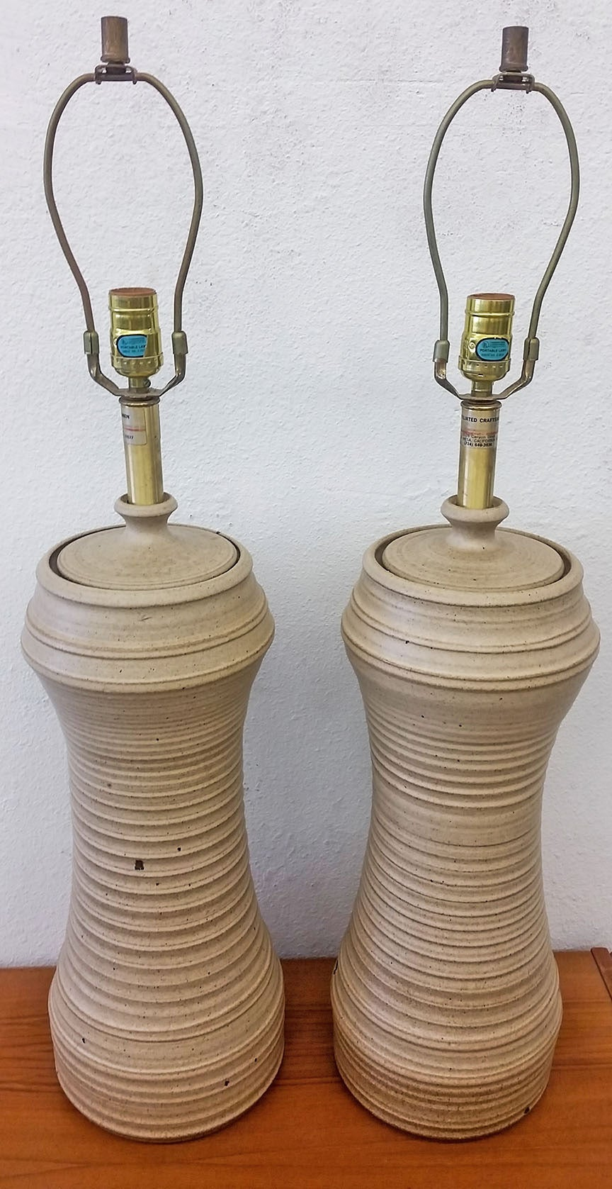 Pair Of Bob Kinzie Hand Thrown Art Pottery Lamps At 1stdibs