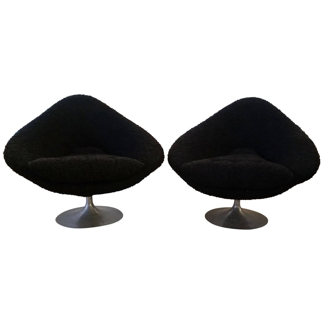 Mid Century Sculptural Pair of Diamond Shaped Lounge Chairs