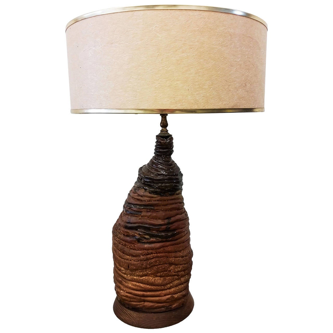 Charmant Mid Century Brutalist Clay Table Lamp For Sale