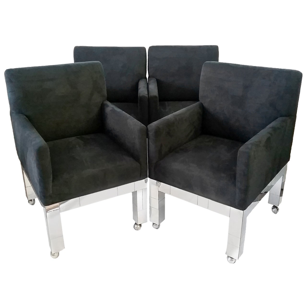 Set of Four Chrome Cityscape Chairs by Paul Evans for Directional