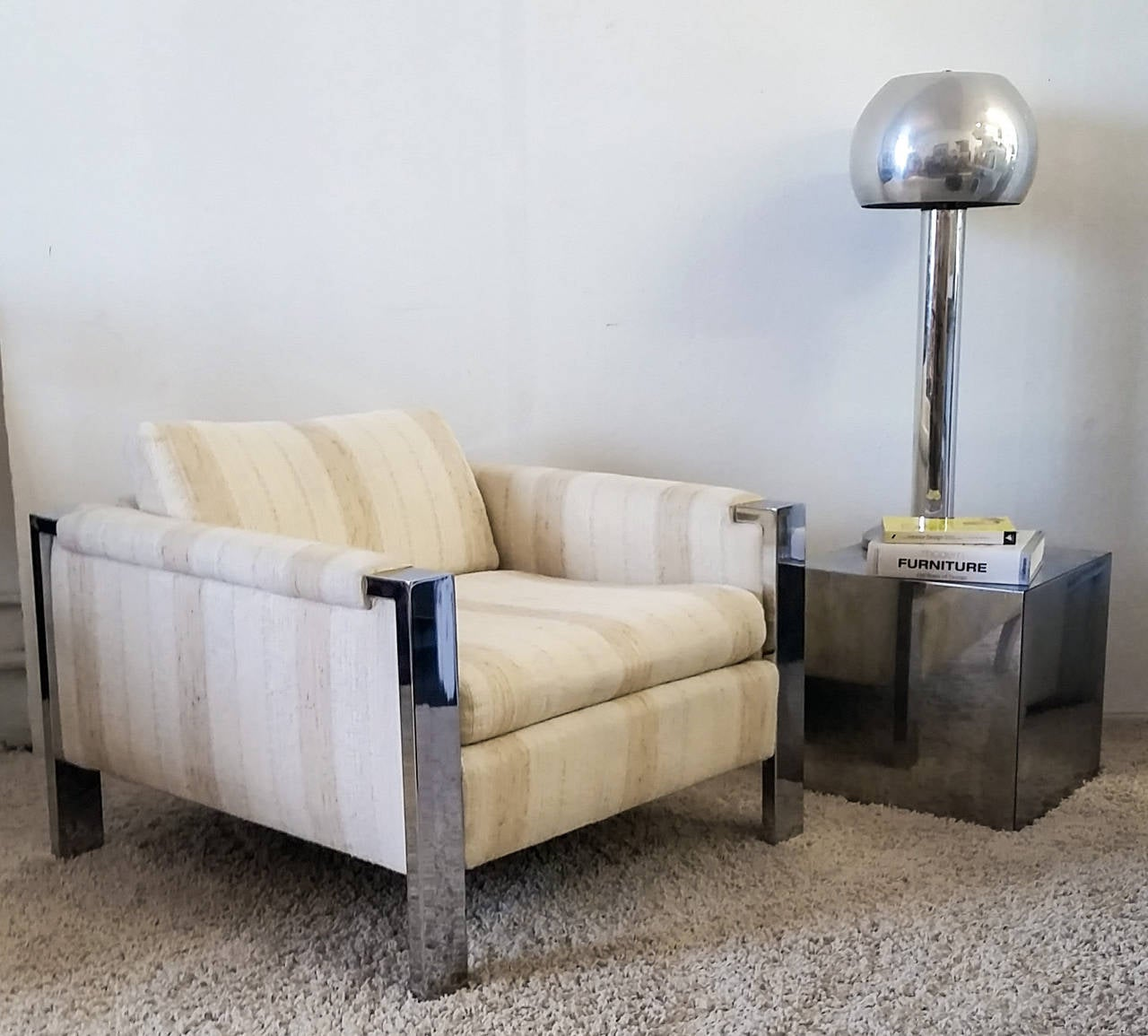 1970s Mid-Century Polished Chrome Lounge Chair For Sale