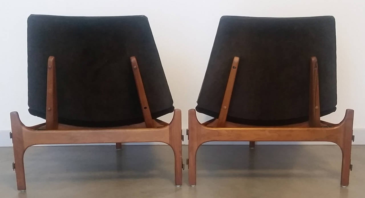 Pair Of 3 Legged Lounge Chairs By John Keal For Brown