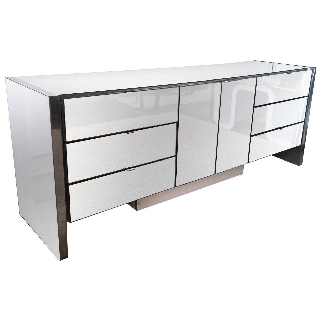 Mid Century Modern Chrome And Mirrored Credenza By Ello