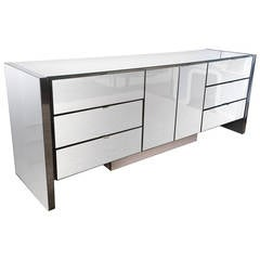 Mid-Century Modern Chrome and Mirrored Credenza by Ello Furniture
