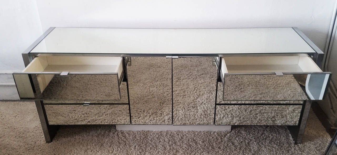 Mid Century Modern Chrome And Mirrored Credenza By Ello Furniture