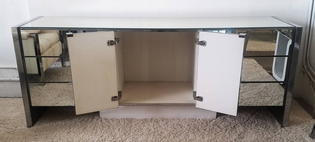 Mid Century Modern Chrome And Mirrored Credenza By Ello Furniture 2