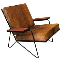 Sculptural Iron and Cowhide Lounge Chair After Raoul Guys