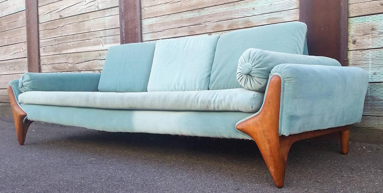 Mid-Century Modern Rare Sculptural Adrian Pearsall Gondola Sofa For Sale