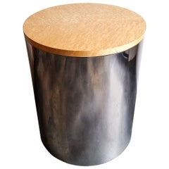 Paul Mayen Bird's-Eye Maple and Chrome Side Table