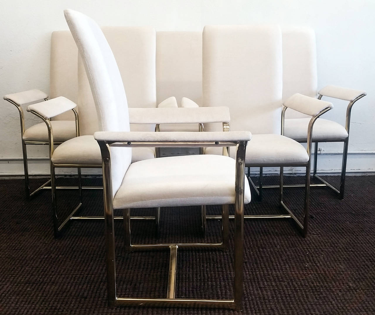 Set of Six Milo Baughman Brass and Velvet Dining Chairs at 1stdibs