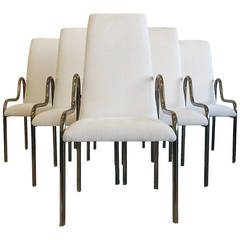 Set of Six Mastercraft Brass Dining Chairs