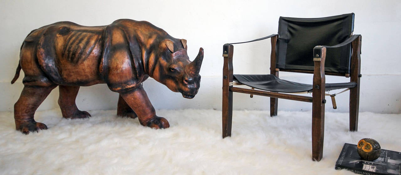 Monumental Leather Rhinoceros Sculpture In Good Condition For Sale In Las Vegas, NV