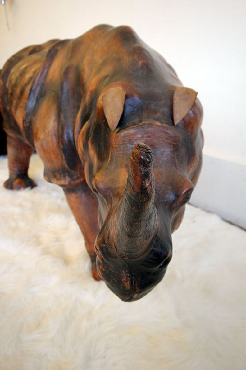 Monumental Leather Rhinoceros Sculpture For Sale 2