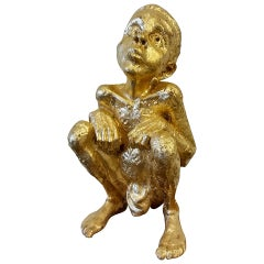 Beejoir LV Child Cast Resin 24-Carat Gold Leaf Sculpture