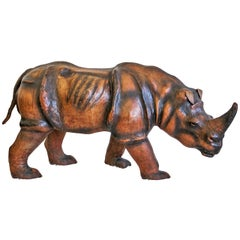 Monumental Leather Rhinoceros Sculpture
