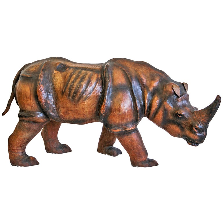 Monumental Leather Rhinoceros Sculpture For Sale