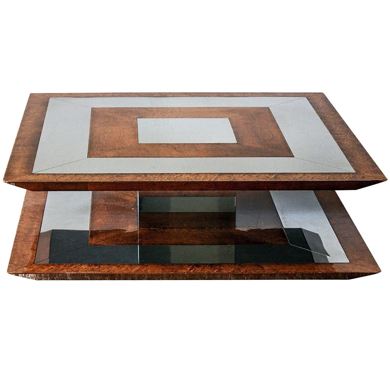 Burl Wood And Chrome Coffee Table In The Style Paul Evans At 1stdibs