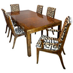 Bernhard Rohne for Mastercraft Burled Parsons Dining Table and Chairs
