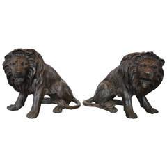 Magnificent Pair of Cast Bronze Lion Sculptures
