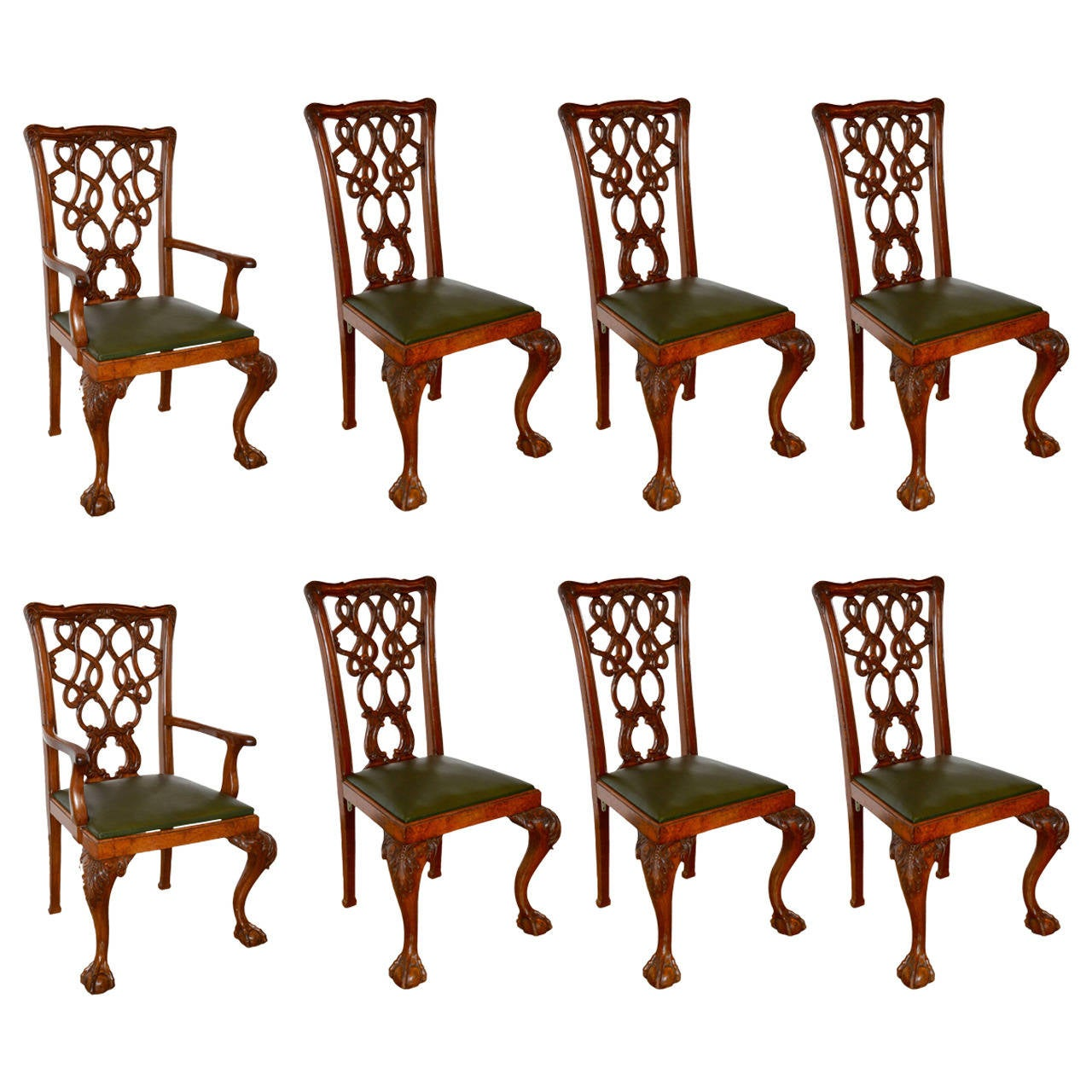 English mahogany chippendale dining chairs for sale at 1stdibs for Mahogany dining room furniture