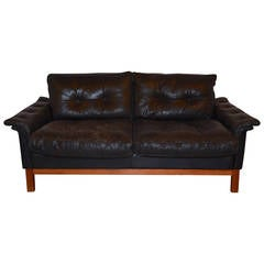 Mid-Century Black Tufted Leather Loveseat, Danish
