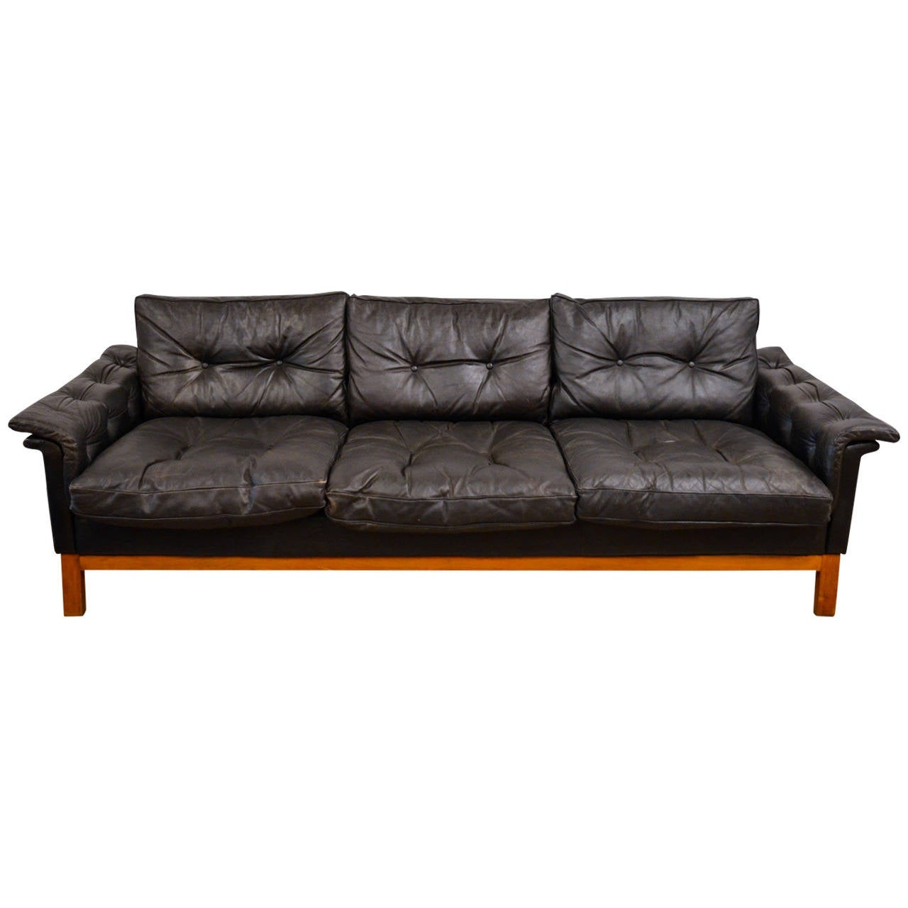 mid century black tufted leather sofa danish at 1stdibs. Black Bedroom Furniture Sets. Home Design Ideas