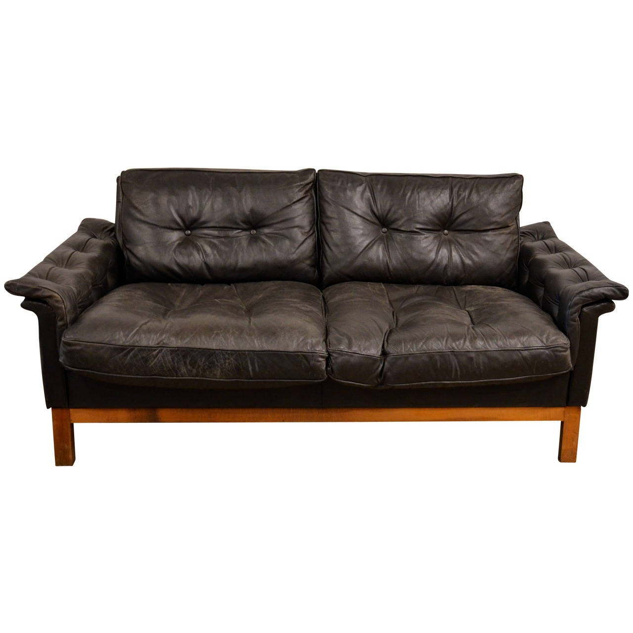 Mid Century Black Tufted Leather Loveseat Danish At 1stdibs