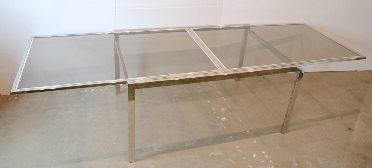 milo baughman chrome and glass extension table at 1stdibs