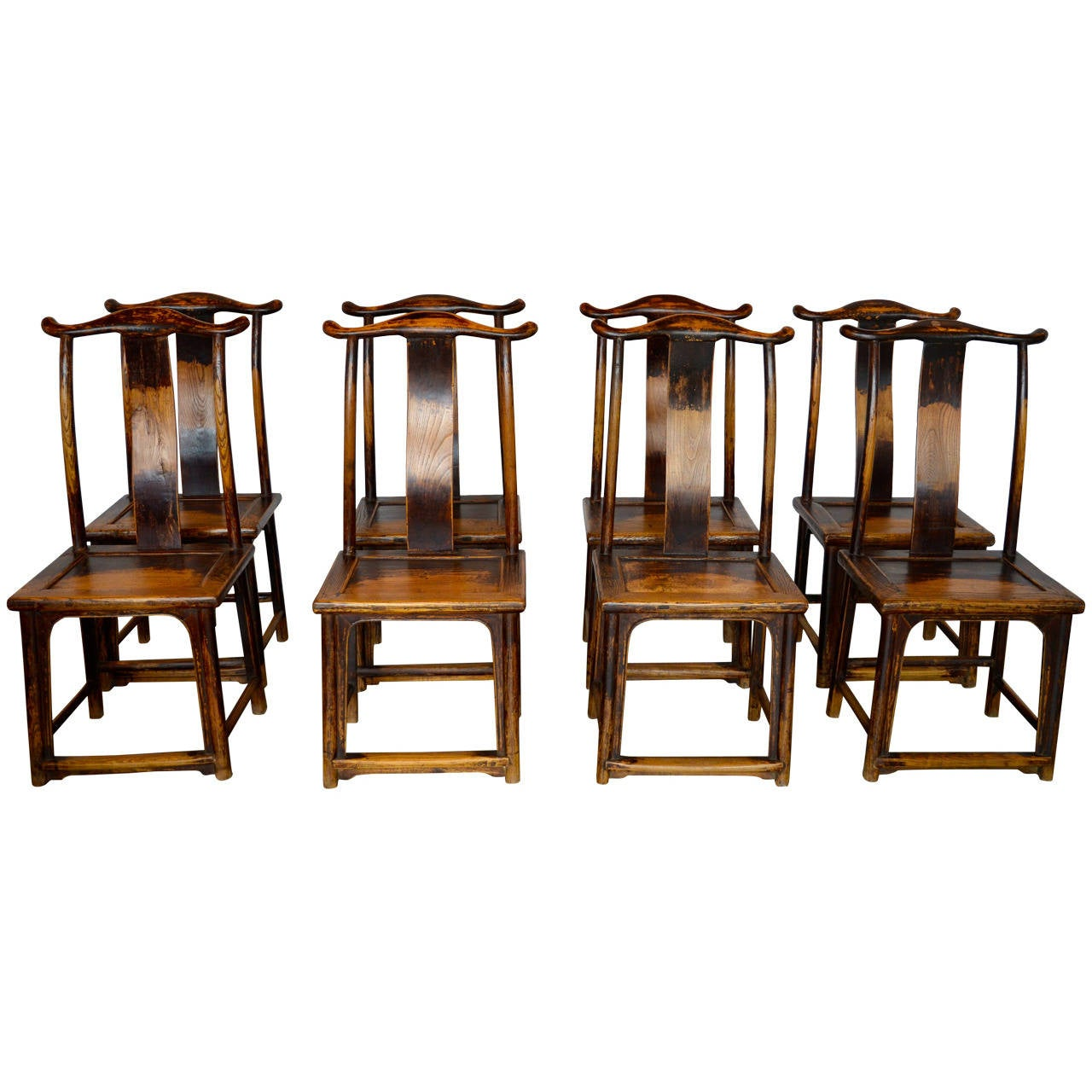 Yoke Crest Ming Style Chairs, Set Of Eight For Sale