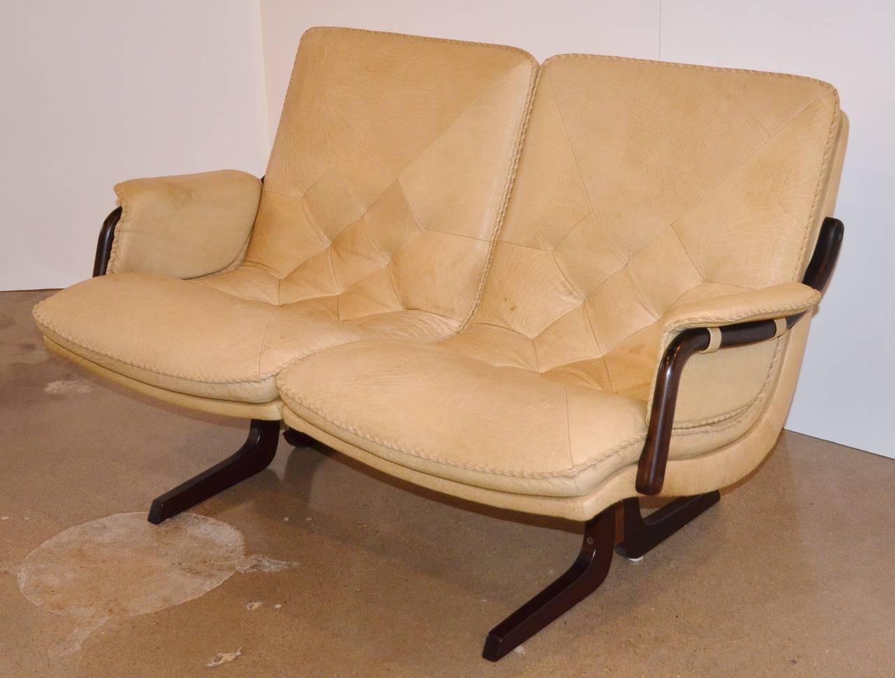 Mid Century Italian Leather Loveseat At 1stdibs