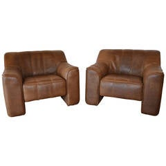 Pair of De Sede Leather Lounge Chairs