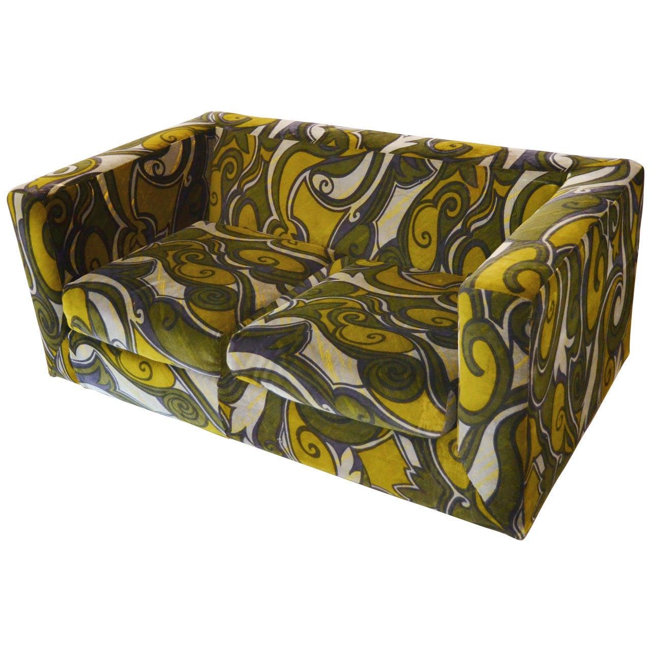 dunbar loveseat with jack lenor larsen velvet at 1stdibs. Black Bedroom Furniture Sets. Home Design Ideas