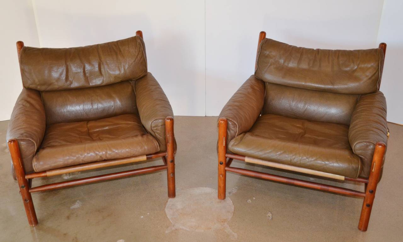Merveilleux Handsome Pair Of Arne Norellu0027s Kontiki Lounge Chairs, 1960s, Sweden.  Designed In Leather