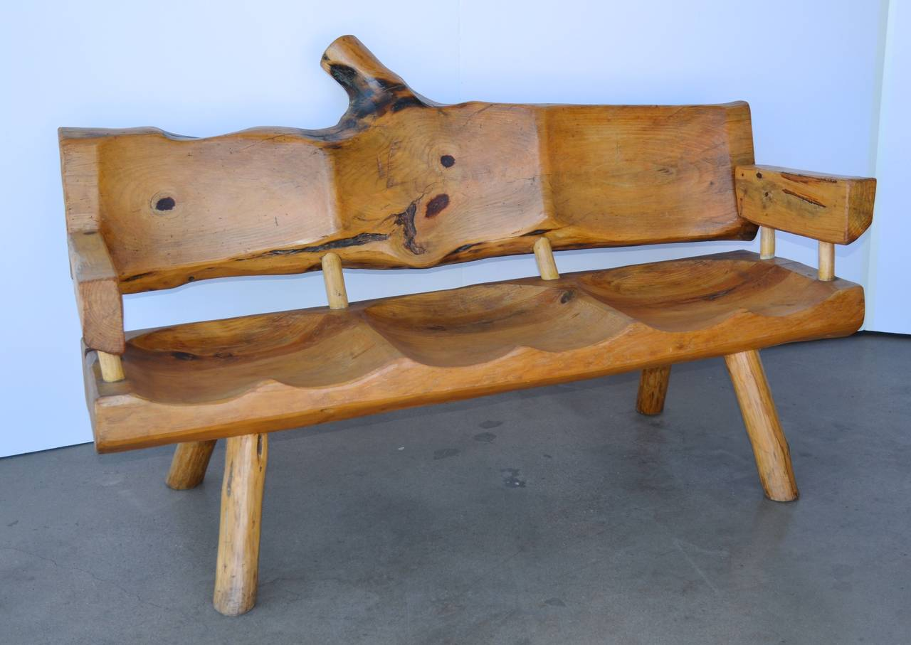 Mid Century Carved Cypress Patio Set At 1stdibs