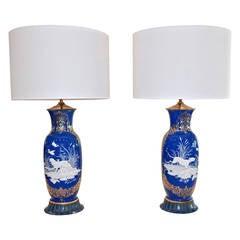 Blue and White Påte-Sur-Påte Porcelain Lamps