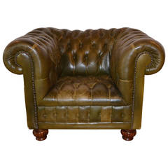 Green Leather Chesterfield Lounge Chair