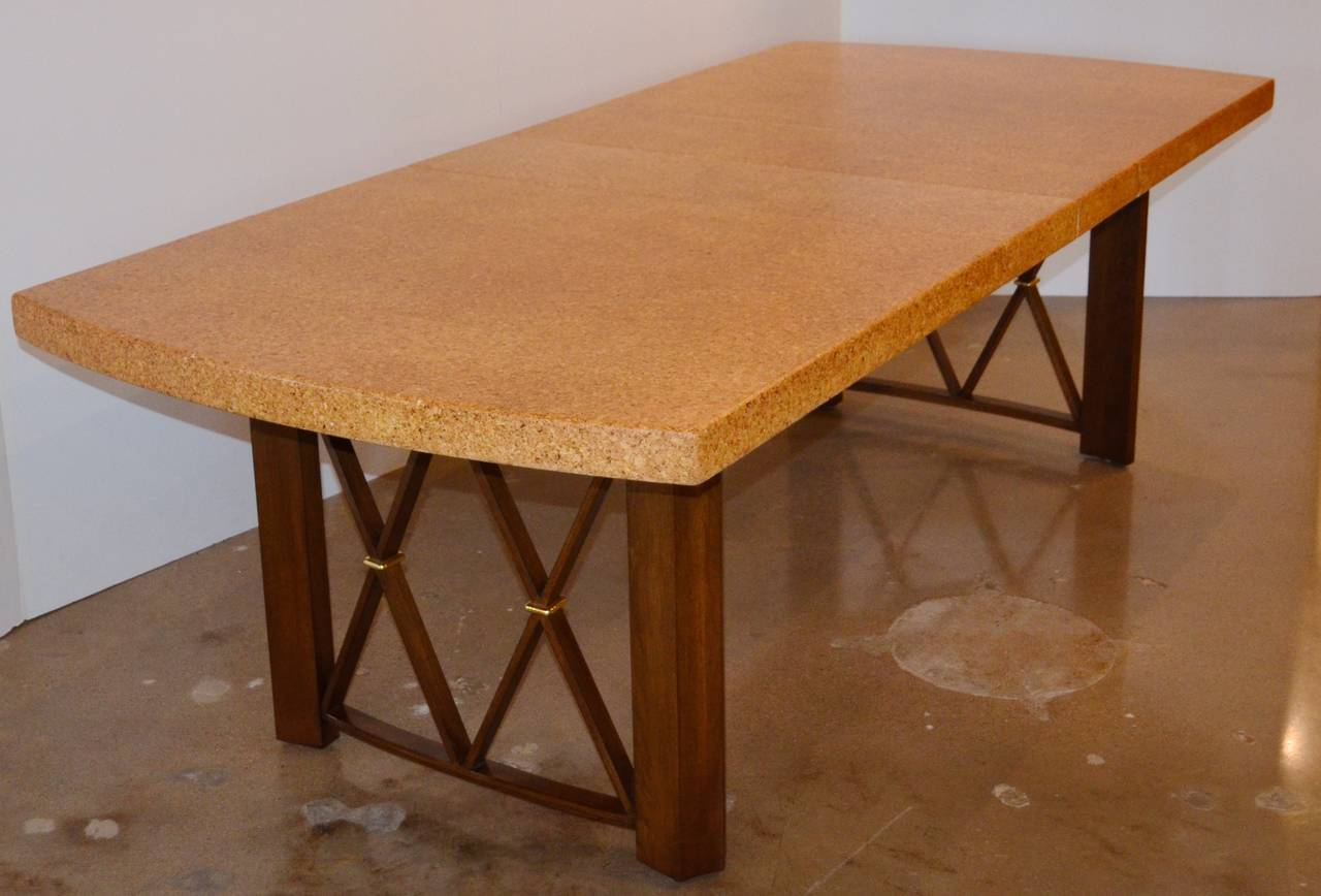 Mid Century Modern Paul Franklu0027s Cork, Walnut And Brass Dining Table For  Johnson Furniture