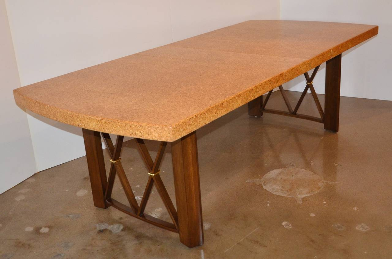 Paul Frankl 39 S Cork Walnut And Brass Dining Table For