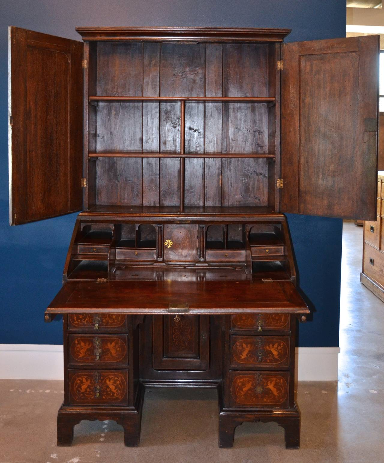 William And Mary Marquetry Secretary Circa 1700 For Sale