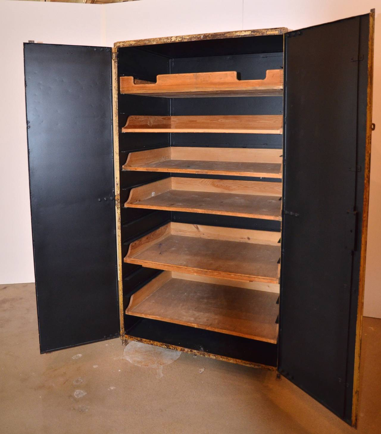 two door industrial steel cabinet with shelves at 1stdibs. Black Bedroom Furniture Sets. Home Design Ideas