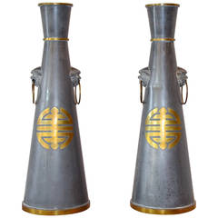 Pair of Large Mid-Century Asian Pewter and Brass Vases