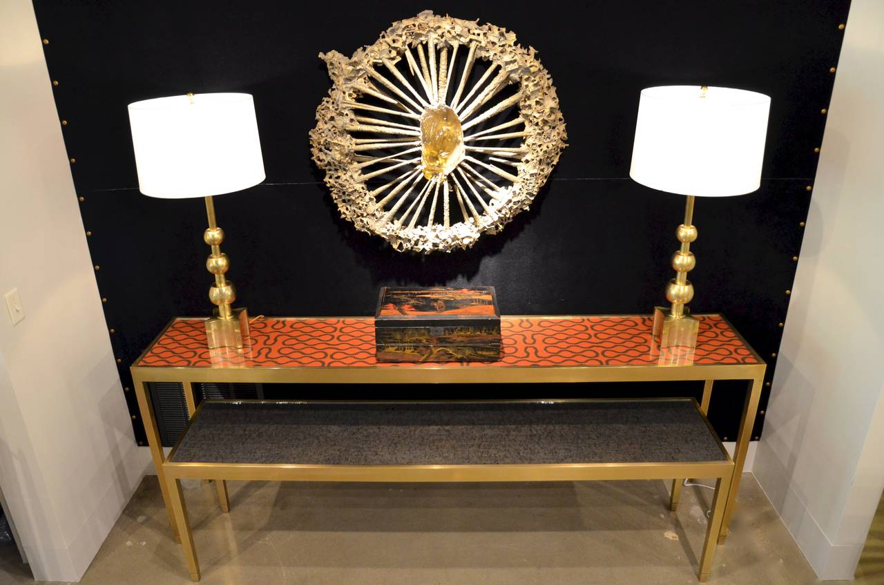Solid Bronze Console Table with Interchangeable Top 2